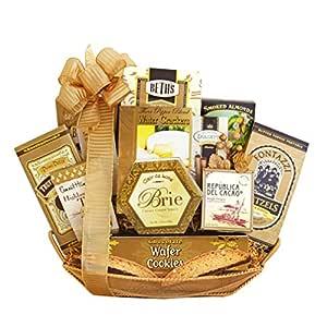 Golden Gourmet Christmas Gift Basket for Men, Women, Couples or Whole Familes