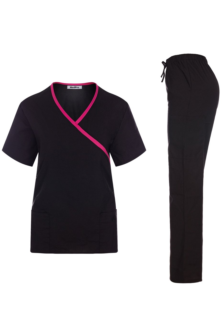 MedPro Women's Contrast Trimmed Solid Medical Scrub Set Mock Wrap Top and Cargo Pants Black & Pink XL (GT-756)