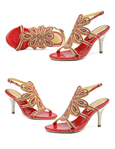 Honeystore Sandals Shoes Red Heels Rhinestones Stiletto Pumps Flower Dress Women's rrSva1