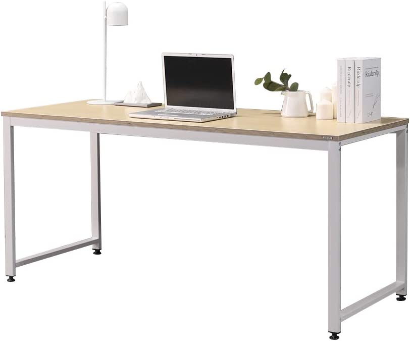 "SOFSYS 63"" Computer Writing Desk Workstation Table Home Office Design for Video Gaming, Designers and Entrepreneurs, Large Desktop with Sturdy Metal Frame, Oak/White"
