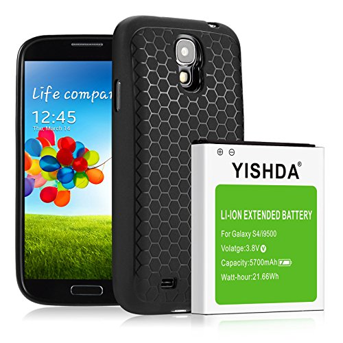 YISHDA Galaxy S4 Extended Battery [5700mAh] Li-ion Battery for Samsung Galaxy S4, I9500, I9505, I9506, M919 (T-Mobile), I545 (Verizon), I337 (AT&T), L720 (Sprint) with Back Cover & Protective Case
