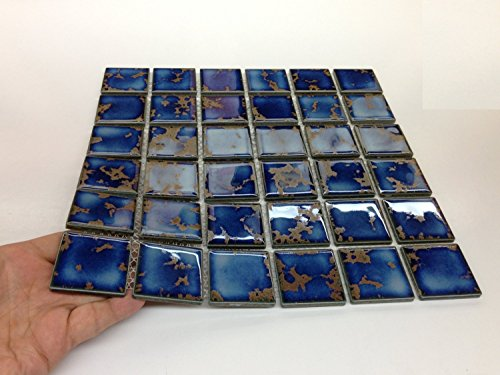 y Square Blue Calacatta Porcelain Mosaic Glossy Tile for Bathroom Floors, Walls and Kitchen Backsplashes, Pool Tile Designed in Italy (12
