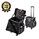 Koval Inc. XL Rolling Cosmetic Makeup Organizer Trolley Bag (PU)