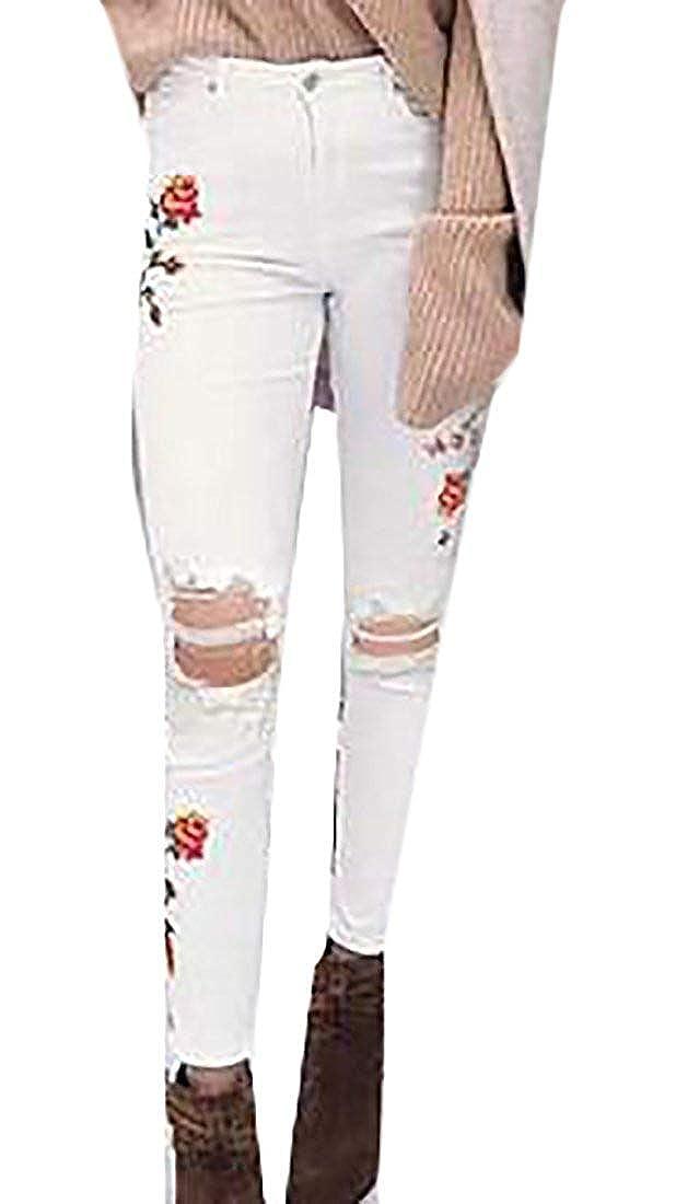 ShuangRun Pantalones Vaqueros Ajustados con Flores Bordadas ...