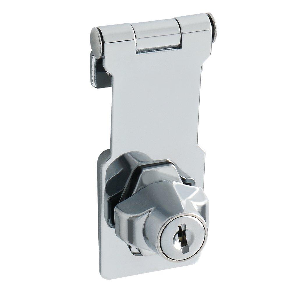 acero inoxidable cromado acabado Sayayo Cerrojo de la puerta del cerrojo de la puerta de la cerradura de la cerradura 3 pulgadas EMS1100C-3 2 llaves incluidas