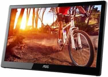 AOC e1659Fwu 16-Inch Ultra Slim 1366x768 Res 200 cd/m2 Brightness USB 3.0-Powered Portable LED Monitor w/ Case