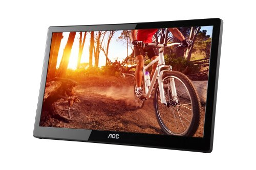 AOC e1659Fwu 15.6-Inch Ultra Slim 1366x768 Res 200 cd/m2 Brightness USB 3.0-Powered Portable LED Monitor w/ Case from AOC