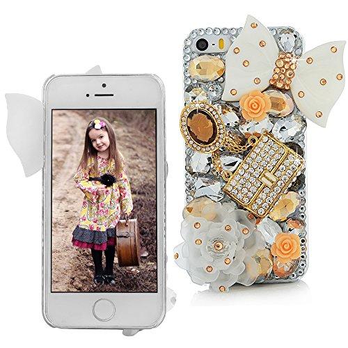 Maviss Diary for iPhone 5S Case,iPhone SE Case,iPhone 5 Case,3D Handmade Bling Crystal Lovely White Bow Golden Bag Orange Flowers Shiny Sparkle Diamond Gems Design Hard Clear Cover for Iphone SE 5S 5