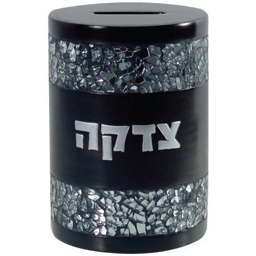 Quality-Judaiac-Tzedakah-Box-With-Crushed-Glass-Design-Polyresin-Round