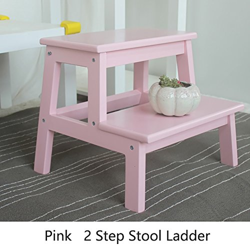 ZQZ Step Stool Wood Small 2 Step Stool Ladder for Adults & Kids Indoor Kitchen Wooden Small Foot Stools Portable Flower Rack/Storage Shelf/Shoe Bench (#) (Color : Pink)