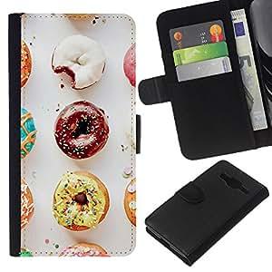 KLONGSHOP // Tirón de la caja Cartera de cuero con ranuras para tarjetas - Buñuelo del chocolate glaseado dulce panadero - Samsung Galaxy Core Prime //