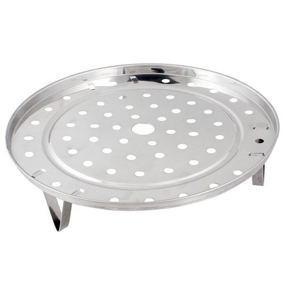Silver Tone Stainless Steel Steaming Steamer Rack Tray Stand for Cooker (8.5 Inch Diameter)