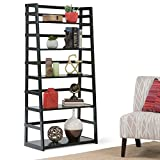 Ladder Shelf Bookcase Solid Wood Construction Black-painted Finish with Protective NC Lacquer Contemporary Rustic Styling