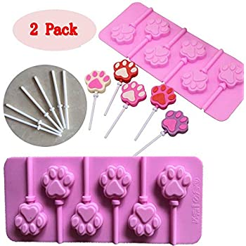 (Set of 2) Paw Print Lollipops Mold/chocolate lollipop molds with 12pcs Sticks For Candy Ice Cream Chocolate Making and Cupcake Topper Decoration