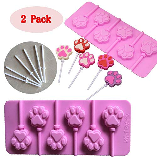 (Set of 2)Paw Print Lollipops Mold/chocolate lollipop molds with 12pcs Sticks For Candy Ice Cream Chocolate Making and Cupcake Topper Decoration