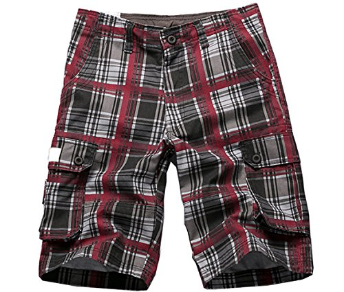 Special 2 Men's Plaid Patchwork Cotton Cargo Shorts(992FRed34) (Shorts Patchwork Red)