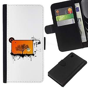 A-type (Enfriar pantalla Abstract Orange Tree) Colorida Impresión Funda Cuero Monedero Caja Bolsa Cubierta Caja Piel Card Slots Para Sony Xperia Z1 L39