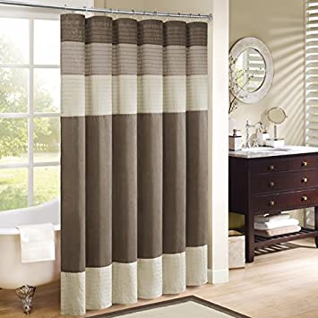 1 Piece Tan Cream Brown Horizontal Stripe Printed Shower Curtain Polyester Abstract Graphical Geometric Pattern