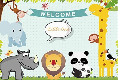 Leyiyi 7x5ft Kids Birthday Backdrop Cartoon Zoo Animals