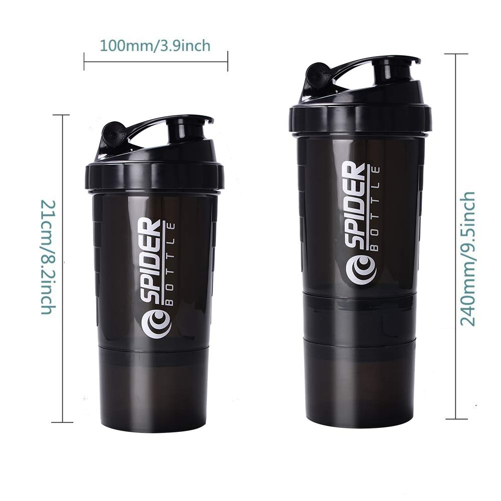100/% BPA Free Gym Bottle Shaker 16oz Shaker Cup with Storage Great for Powder and Capsule Organizer ZOORON Protein Shaker Bottle
