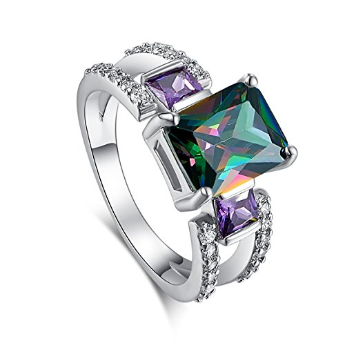 Psiroy 925 Sterling Silver Created Rainbow Topaz Filled Split Shank Band 3 Stone Engagement Ring