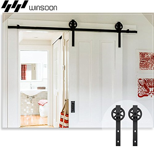 WINSOON 5-16FT Single Wood Sliding Barn Door Hardware Basic Black Big Spoke Wheel Roller Kit Garage Closet Carbon Steel Flat Track System (8FT)