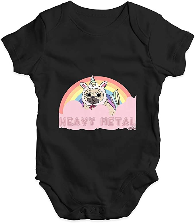 TWISTED ENVY Babygrow Baby Romper Heavy Metal Pug