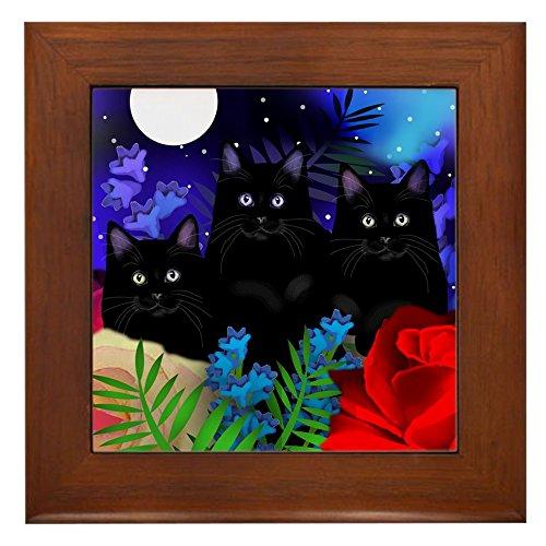 CafePress - BLACK CATS MOON GARDEN Framed Tile - Framed Tile, Decorative (Black Cat Tile)