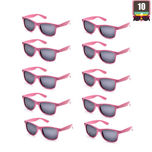 10 Packs Adult and Kids Neon Colors 80's Retro Style Sunglasses (Adult Pink)