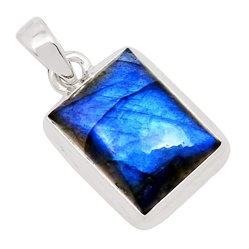 Xtremegems Peacock Blue Labradorite 925 Silver Pendant Jewelry 1 1//8 27020P