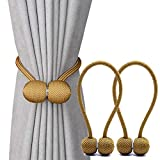 curtain tie back ideas  Magnetic Curtain Tiebacks,The Most Convenient Drape Tie Backs,2 Pack Decorative Rope Holdback Holder for Big,Wide or Thick Window Drapries,16 Inch Long,Bronze/Golden