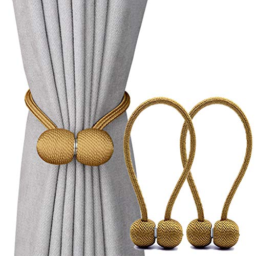 DEZENE Magnetic Curtain Tiebacks,The Most Convenient Drape Tie Backs,2 Pack Decorative Rope Holdback Holder for Big,Wide or Thick Window Drapries,16 Inch ()