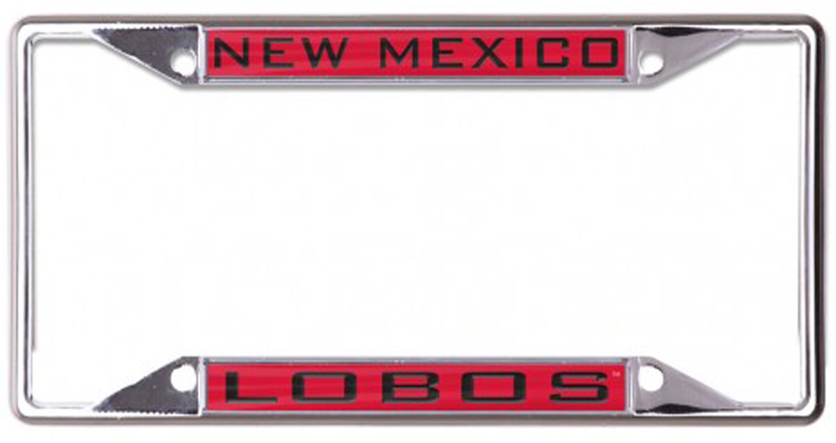 WinCraft The University of New Mexico Lobos License Plate Frame red metal with inlaid acrylic 4 mount holes