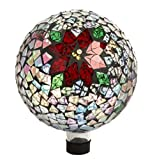 Hand Blown Glass Holiday Poinsettia and Holly Inlaid Mosaic Gazing Ball 10''