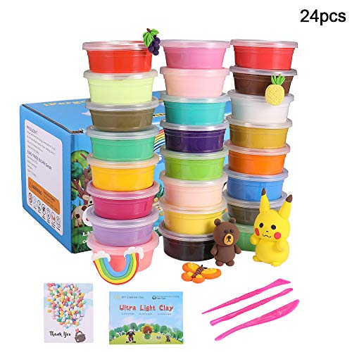 Modeling Clay, 24 Colors Air Dry Clay Best Gift for Kids, Super Light Magic Clay with Sculpting Tools and Project, No-Sticky and Non-Toxic (24 Colors Air Dry Clay) ()