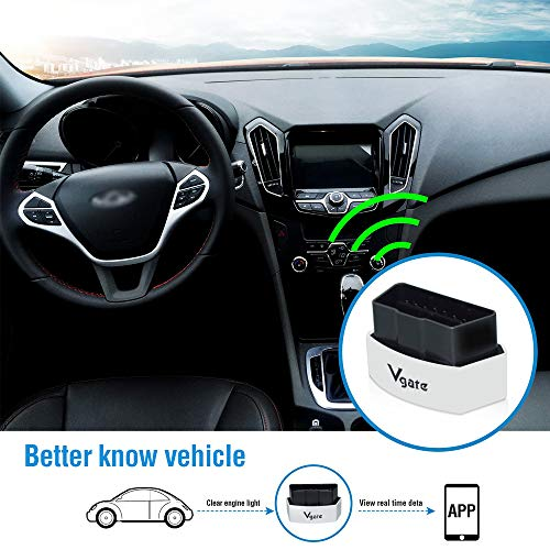 Vgate iCar 3 WiFi OBD2 Scanner Scan Tools Interface Adapter Check Engine  Light Car Diagnostics Tool for iOS iPhone iPad and Android, Auto  Sleep(White)