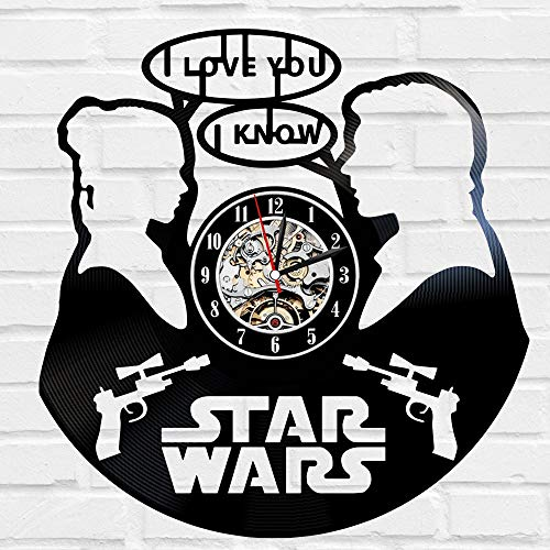 Kovides Decorations for Birthday Party Star Wars Wall Clock Large Star Wars LP Clock Film Movie Vintage Wall Clock Star Wars Art Retro Vinyl Record Clock Unique Gift Idea for Fan