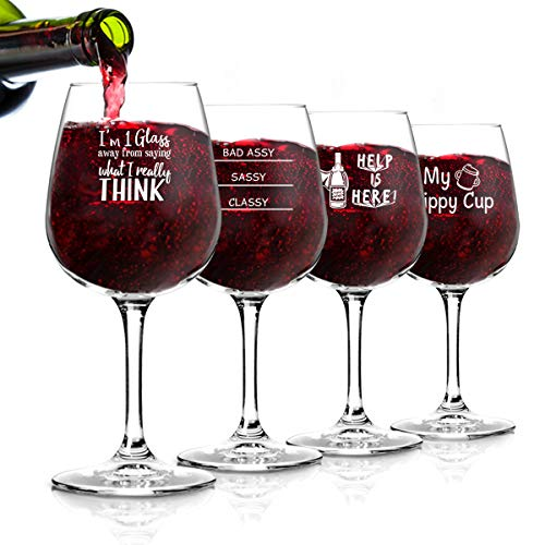 Funny Wine Glasses Set of 4 (12.75 oz)- Funny Novelty Wine Glassware Gift for Women- Party, Event, Hosting Fun- Wine Lover Wine Glass with Funny Sayings (Hilarious Best Friend Sayings)
