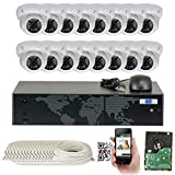 GW Security 16 Channel 5MP NVR 1920P IP Camera Network POE Video Security System - 16 x 5.0 Megapixel (2592 x 1920) Weatherproof Dome Cameras, Quick QR Code Easy Setup, Pre-Installed 4TB Hard Drive