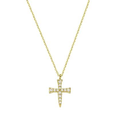 Goldkette damen kreuz  aion Collier Anhänger mit Kette Gold 585 Gelbgold 14K Kreuz Damen ...