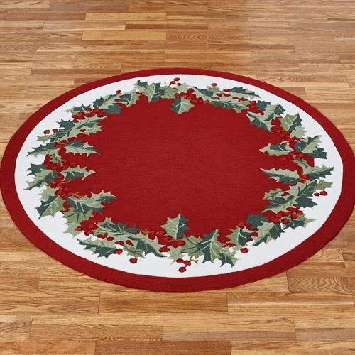 Nourison Holly Border Round Rug Red 5' Round