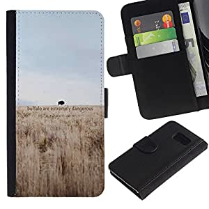 """A-type (Dangerous Buffalo"""") Colorida Impresión Funda Cuero Monedero Caja Bolsa Cubierta Caja Piel Card Slots Para Samsung Galaxy S6"""