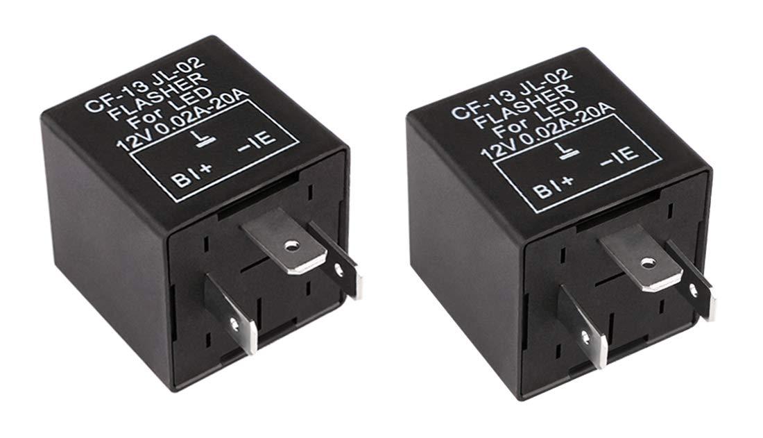 Sdootauto 2 Pcs 12V 2-Pin Motorcycle Adjustable Flasher Turn Signal LED Flasher Relay Hyper Indicator Flash- Black and Orange