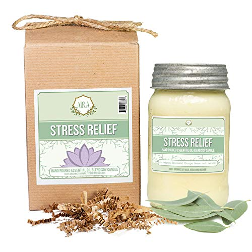 Aira Soy Candles - Organic, Kosher, Vegan, in Mason Jar w/Therapeutic Grade Essential Oil Blends - Hand-Poured 100% Soy Candle Wax - Paraffin Free, Burns 110+ Hours -Relaxing Stress Relief -16 Ounces