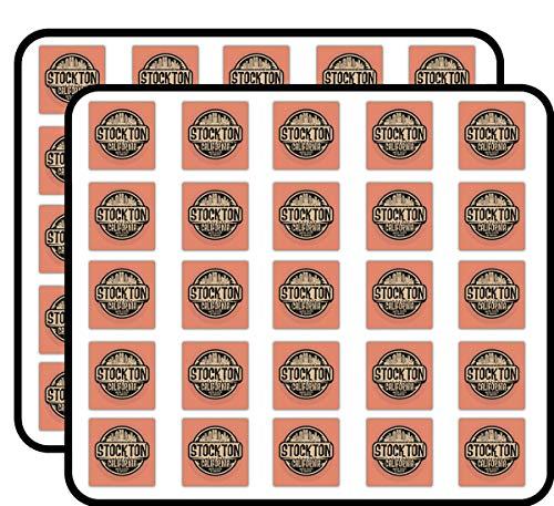 Stockton City USA Grunge Label Art Decor Sticker for Scrapbooking, Calendars, Arts, Kids DIY Crafts, Album, Bullet Journals 50 Pack]()