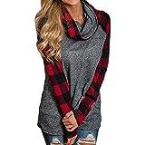 Kimloog Womens Turtleneck Plaid Sleeve Patchwork Tunic Cotton Pullover Sweatshirts (2XL, Red)