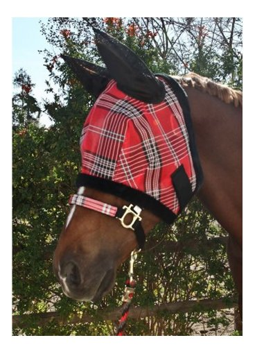Kensington Fly Mask with Fleece Trim and Soft Ears, Citrus Slate Plaid, (Kensington Slate)