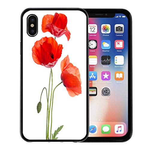 Emvency Phone Case for Apple iPhone Xs case,Green Poppy Bouquet of Red Poppies Flower Papaver Arrangement Beauty for iPhone X Case,Rubber Border Protective Case,Black