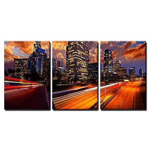 wall26 - 3 Piece Canvas Wall Art - Downtown La Night Los Angeles Sunset Skyline California from 110 Freeway - Modern Home Decor Stretched and Framed Ready to Hang - -
