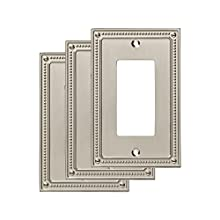 Franklin Brass W35060M-SN-C (3 Pack) Classic Beaded Single Decorator Wall Plates, Satin Nickel